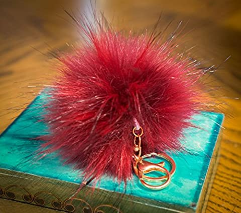 3pour 2. 12cm Grand Fluffy imitation/Fausse Fourrure raton laveur style Pom Pom Big Étui porte-clés fermoir or charme