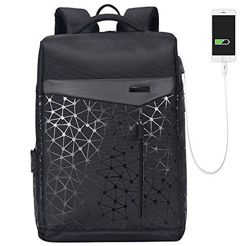 AOKING Stylisch College Rucksack Urban Laptop Anti Diebstahl Rucksack USB Quadratisch Pack Schwarz Schwarz