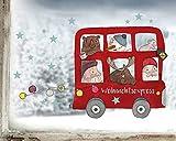 TinyFoxes Fensterbild Weihnachtsbus - Wiederverwendbare und kleberfreie Festtagsdeko für Das