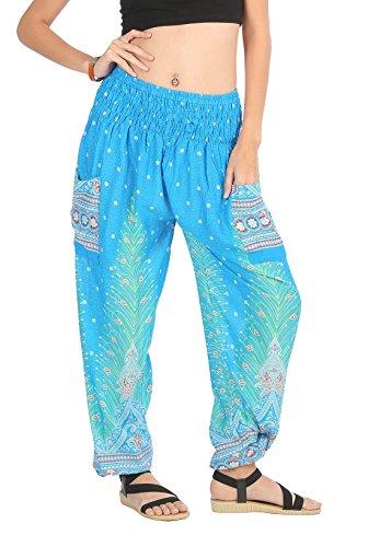 b1aee54ee9 CandyHusky Harem Trousers Aladin Hippy Boho Gypsy Summer Beach Yoga Harem  Pants One Size (Peacock