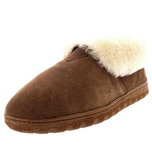 Polar Herren Pelz Gefüttert Echten Australischen Schaffell Pelz Manschette Stiefel Pantoffeln - Tan - UK12/EU46 - YC0453 (Schaffell Booties)