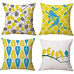 Aart couple of birds seated on tree, designer cushion cover set of 4, 16 by16 by Aart Store