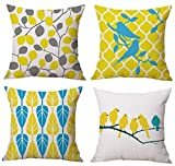 #6: Aart couple of birds seated on tree, designer cushion cover 16 by16 set of 4 by Aart Store