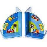 Serre-livres voitures bleu en bois pour une chambre de bébé ou de petit garçon