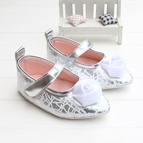 Fulltime® Baby Girl Toddler souple PU cuir Sole Bow Prewalker Crib Shoes Argent