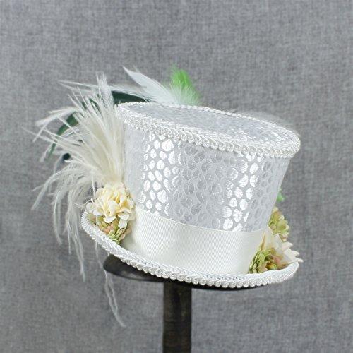 Gr Womens Off White Mini Top Hut, Tee Hut, Alice im Wunderland, Mad Hatter Tee Hut, Braut Hut, Kentucky Derby Hut