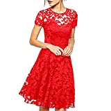 Dress Women O-Neck Short Sleeve Blue Lace Fit and Flare Casual Fashion Noble Valuable Novel Women Dress Summer Red M