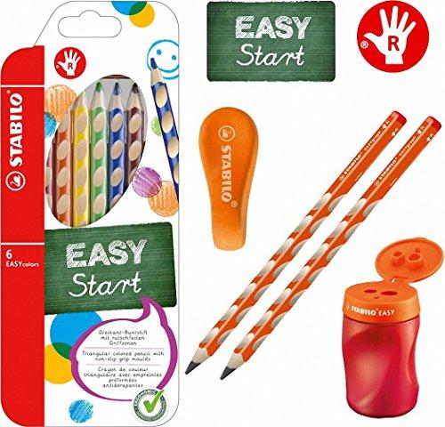 Stabilo EASY-Starter-Set R2 orange mit Bleistiften, Buntstiften, Dosenspitzer und Radierer