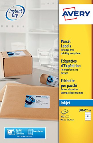 Avery España J8165-25 - Pack de 25 folios de etiquetas para envíos, 99.1 x 67.7 mm, color blanco