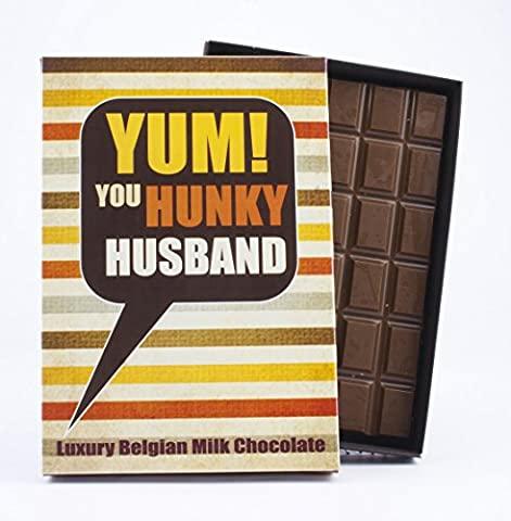 Novelty Chocolate Gift for Husband 85 Gram Best Luxury Belgian Milk Boxed Bar Box of Chocolates for Him for Birthday or Any Occasion with This Fun Greetings Card
