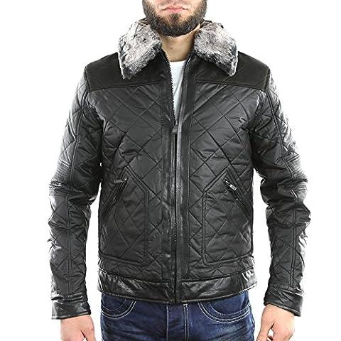 DXF004-BK - Blouson, veste homme en nylon gros carreaux - Gov Denim - fashion - Noir - Noir, XXL