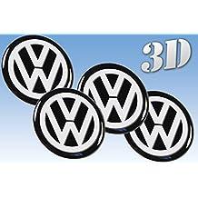 Rueda Pegatinas Volkswagen todos los tamaño centro tapa tapacubos Logo insignia 3d BLACK (Pequeño 8mm. (8pcs en paquete))