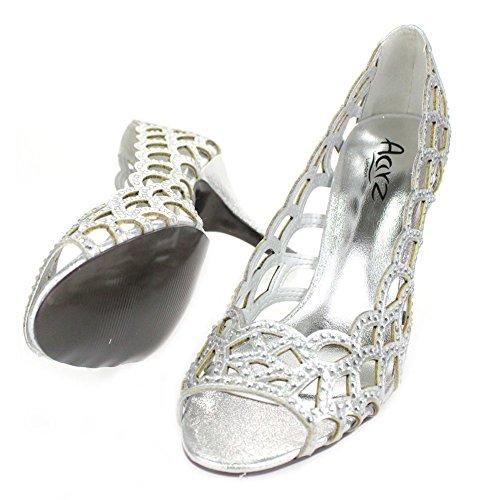 Aarz Frauen-Dame-Abend-Hochzeitsfest -Absatz-Blick-Zehe Diamante-Sandelholz-Schuh-Größe (Gold, Silber, Champagner, Schwarz) Silber