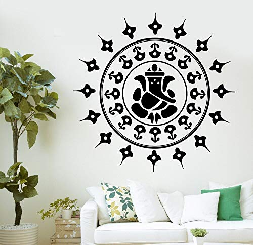 Buddha Ganesha Hinduismus Götter Vinyl Wandaufkleber Wohnkultur Wohnzimmer Yoga Mandala Wandkunst Aufkleber Vinilos Paredes Wandbild 84x84cm