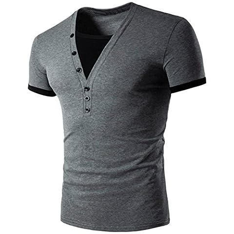 Hommes T-Shirt Manches Courtes,Overdose Basiques Tops T-Shirt à Col V Profond Avec Bouton Regular Fit (L, Gris Foncé)