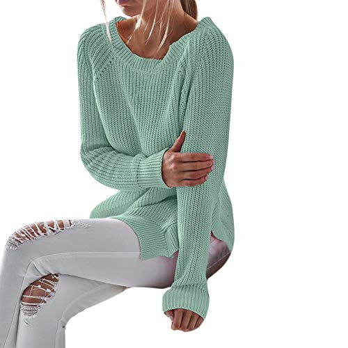 Clearence!!!Sonnena Women O-Neck Sweater Casual Crewneck Irregular Solid Loose fit Long Sleeve Pullover Sweater Shirt Blouse top