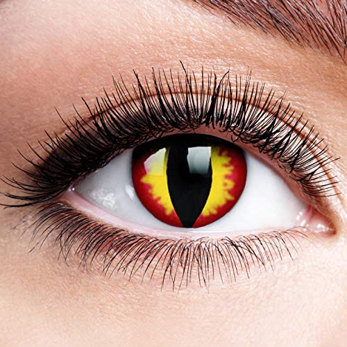 Farbige Kontaktlinsen ohne Stärke Dragon Eyes Gelbe Linsen Halloween Karneval Fasching Cosplay Anime Gelb Rot Horror Clown Feuer Drache Augen Sauron Yellow Wildfire Eye 0 dpt