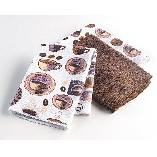 Ligne Décor Easy Deco Lot de 3 Torchons Microfibre 2 Imprimes/1 Uni Polyester Choco 40 x 40 x 40 cm