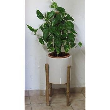 Blumentopf Pflanztopf aus Keramik mit Ständer aus Bambus von LOCKER