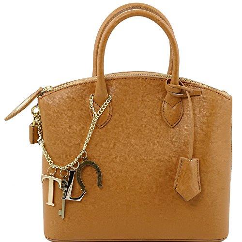Tuscany Leather - TL KeyLuck - Sac cabas en cuir Saffiano - Petit modèle - Cognac