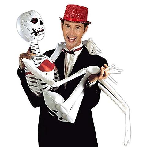 German Trendseller® - Skelett Aufblasbar ┃ 185 cm ┃ Dekoration ┃ Aufblasbar ┃ Halloween ┃ Kreatur ┃ Knochen ┃ Skeleton