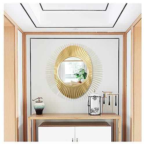 XM-MIRROR Wandspiegel Sunburst Shaped Dekorative Wand Gebürstet Gold Sunburst Runde Wandspiegel Für Wohnzimmer Badezimmer Schlafzimmer Und Eingang Durchgang Wandspiegel,Gold,91.5x91.5cm