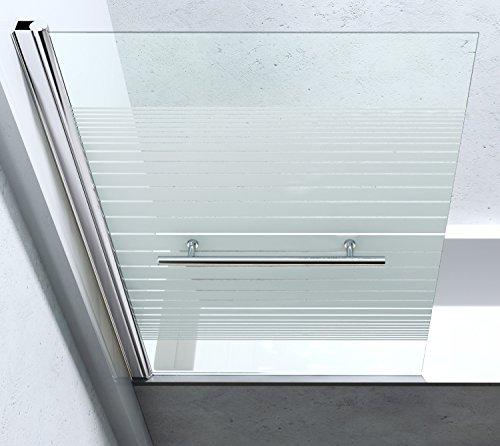 BxH: 94×143 cm Design Duschabtrennung Cortona1122, 6mm ESG-Sicherheitsglas teilsatiniert, inkl. Nanobeschichtung, Badewannenfaltwand, - 4