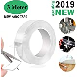 TECHZEX Reusable and Washable Double Sided Adhesive silicon Tape with Multi-Functional Anti-Slip Double Sided Sticky Strips,Universal Anti-Slip Gel Pads Sticky Tape,Gel Tape Roll Wall Stickers