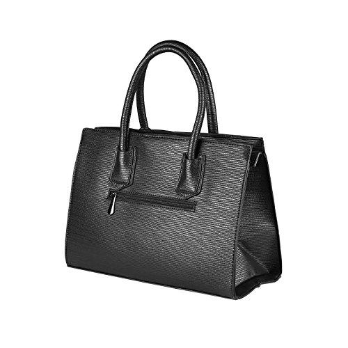 OBC DAMEN TASCHE HANDTASCHE HENKELTASCHE Schultertasche Umhängetasche Businesstasche Shopper Workbag (Hellgrau) Schwarz.