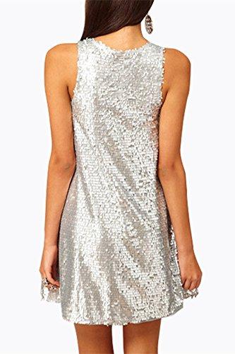 SZIVYSHI Reizvolles Silbernes Sequin Sleeveless Runden Hals Kleid L - 2