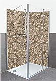 Artland Qualität I Individuelles Wunschformat Duschrückwand Fliesenersatz Motiv Architektur Architektonische Elemente Fotografie Creme H6ZC Braune alte Ziegelmauer