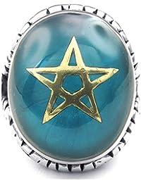 KONOV Schmuck Herren-Ring, Edelstahl, Pentagramm Amulett Ziegen, Blau Gold Silber