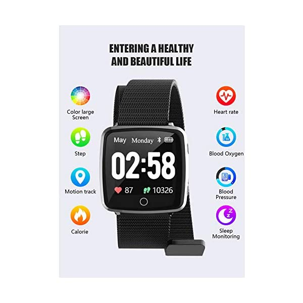 Reloj SAMA Fitness Trackers,Monitor de Frecuencia Cardíaca IP67,Rastreador de Actividad a Prueba de Agua,Reloj de Calorías Para Podómetro Con Pantalla a Color y Monitor de Sueño,Pulsera Inteligent 7