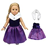 Fanxing New Fashion Elegant Purple Party Formal Dress Skirt Scarf Shawl For 18 inch Our Generation Girl Doll