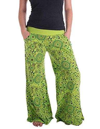 Vishes �?Alternative Bekleidung �?Hippie Schlaghose aus Baumwolle �?bedruckt Hellgrün
