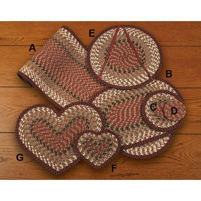 Earth Rugs Heart Trivet, Burgundy/Mustard, 8 x 7 by Earth Rugs
