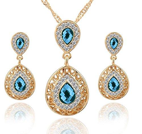 gold-blue-swarovski-element-crystal-teardrop-bridal-necklace-earring-jewelry-set