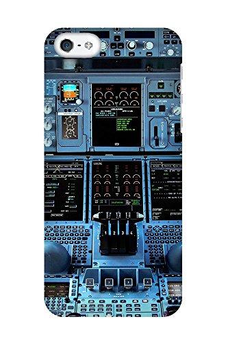 """artboxONE Handyhülle Apple iPhone 5s, weiß Silikon-Case Handyhülle """"Cockpit Airbus A380 Case"""" - Sport - Smartphone Silikon Case mit Kunstdruck hochwertiges Handycover von Alexis von Croy Premium Case"""