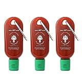 Mini Sriracha Hot Sauce Bottle Keychain 3 PACK -...