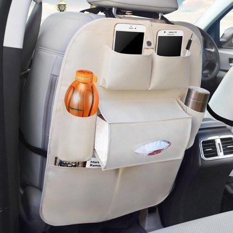 Vetra Beige Car Organizer Storage Bag Back Seat Organizer Holder Cover Backseat Pockets For Mahindra KUV 100