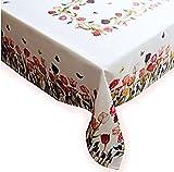 Raebel OHG Apolda Tischdecke 130x170 cm Rechteckig Weiß Tulpen Bunt Tischtuch Tafeltuch Frühlingsdecke