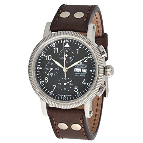 Aristo Hombre Cronógrafo Automático Reloj de pulsera 4h86ETA valjou x7750pulsera de piel marrón