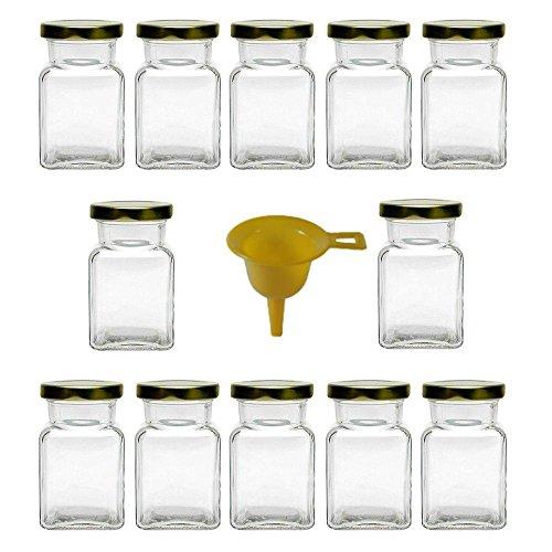 Viva Haushaltswaren #31407# 12 x Gewürzgläser / Marmeladengläser 150 ml mit goldfarbenem Verschluss, eckige Twist off Gläser als Einmachgläser, Glasdosen & Vorratsdosen verwendbar  (inkl. Einfülltrichter)