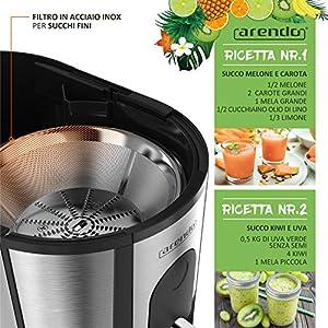 Arendo - Estrattore di succo - Centrifuga - Estrattore di frutta e verdura - Acciaio Inox e plastica senza BPA - 2 velocità - Protezione da surriscaldamento - Ingresso XL da 6,5 cm e Brocca succo - 2020 -