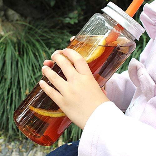 500 ml Saftflasche, transparente Kunststoff-Flasche, Getränkeflasche mit Deckel, wiederverwendbar, für kalte Tee, Milchflaschen, tragbare Sport-Trinkflasche