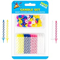 Decorative Birthday Cake Celebration Candles 100 Pieces Set with Easy to Use Holders, Angel Flames, Assorted Striped Spiral Multi Coloured Birthday Party Candles 50 Candles and 50 Holders