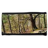 Portemonnaie Geldbörse Brieftasche // M00157223 Bench Wald Baum Bäume Ast // Large Size Wallet