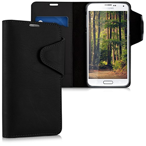 kalibri-Echtleder-Wallet-Hlle-fr-Samsung-Galaxy-S5-S5-Neo-S5-Duos-Case-mit-Fach-und-Stnder-in-Schwarz