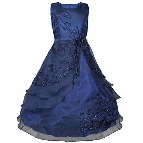 iEFiEL Vestidos de Fiesta de Noche Elegantes de Ceremonia Disfraces de Organza Bordados para Niñas Varios Colores Azul Oscuro 11-12