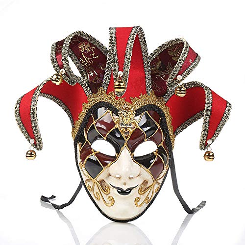 Joker Red Kostüm - YCWY Masken von Venedig, Vollgesichtsmaske Karneval Maske handgemachte venezianische Partei Karneval Kostüm Maskerade Maske Joker Maske,Red